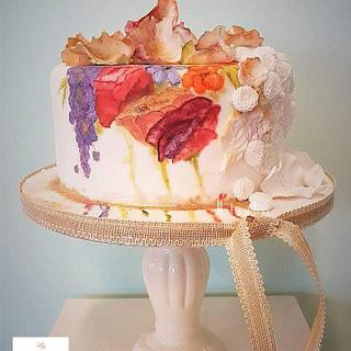 Bursting colours wedding cake for Spring is in the air collab.