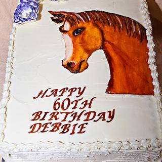 Hand Painted Horse Head Cake