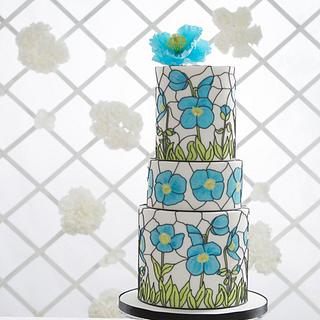 'Wedding Day Blues' Stained Glass Effect Wedding Cake