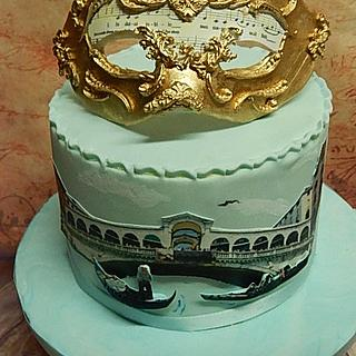 Birthdaycake  themed Venice with mask