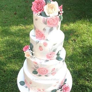 Painted wedding cake - Cake by Le dolci creazioni di Rena