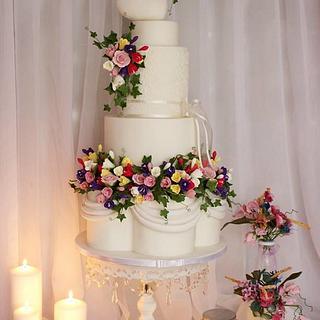 Floral wedding garland - Cake by Amelia Rose Cake Studio