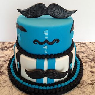 """LITTLE MAN """"MOUSTACHE"""" 1ST. BIRTHDAY CAKE WITH SMASH CAKE - Cake by Enza - Sweet-E"""