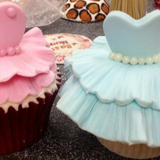 pink blue princess ball gown cupcakes