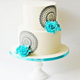 Doily wedding Cake  - Cake by Shamima Desai