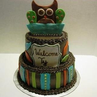 Owl Baby Shower - Cake by Tina