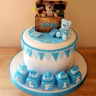 Boys toy box christening cake - Cake by T cAkEs