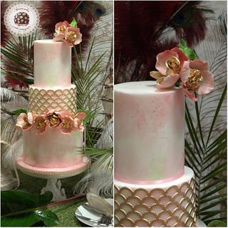 Chic Flowers Crown Wedding Cake by Mericakes