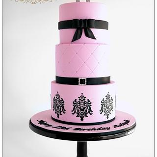 Pink and Black Damask Cake - Cake by Leah Jeffery- Cake Me To Your Party