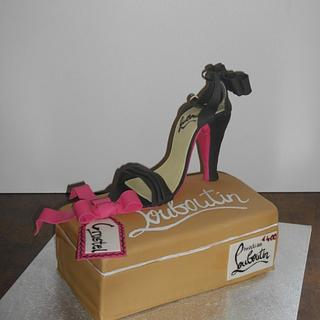 Louboutin shoe and shoebox cake - Cake by Mandy