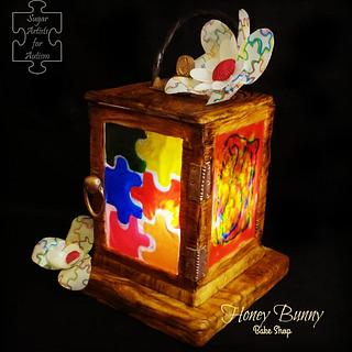 Shining a light- SugarArt4Autism Collaboration - Cake by Honey Bunny Bake Shop