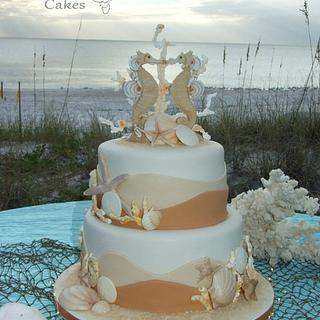 Sea Horse beach theme wedding cake.