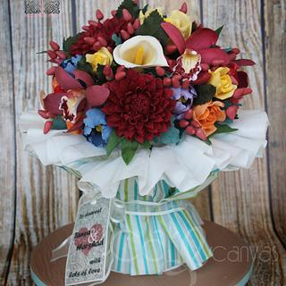 Edible Floral Bouquet - Cake by Anna Mathew Vadayatt