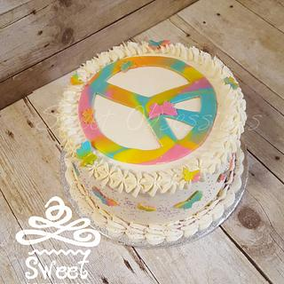Peace Sign Cake - Cake by Sweet Obsessions Cake Co