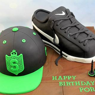 Baseball Cap and Nike shoe