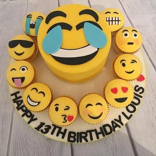 Emoji cake and cupcakes
