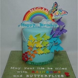 Rainbows and Butterflies - Cake by Toni (White Crafty Cakes)