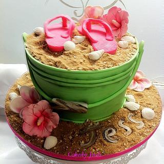 Beach in a Bucket cake