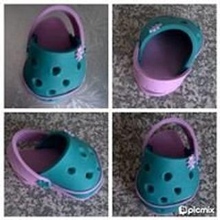 Turquoise and Pink Crocs