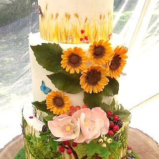 Woodlands, Meadow and Fields Wedding Cake