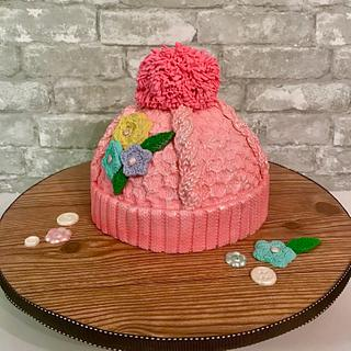 Knitted hat cake