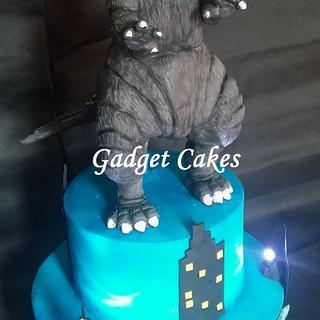 Godzilla Cake with sound and lights!