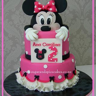 Peeking Minnie Mouse Cake