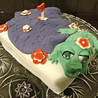 Crocodile cake - birthday cake for a little girl