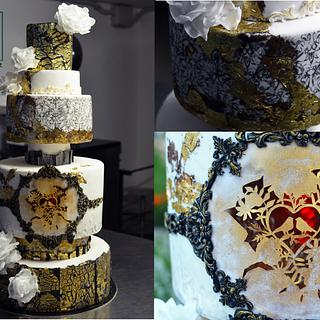 wedd, cut edible paper illustration and inner red light