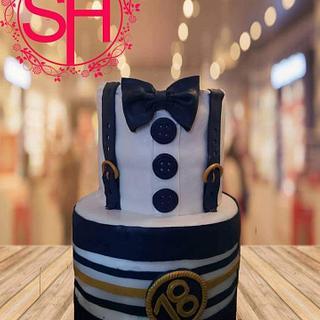 18th birthday men suit cake