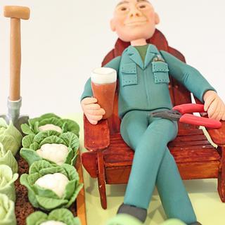 Gardening, electrician retirement cake