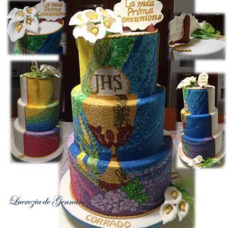 mosaic First Communion cake