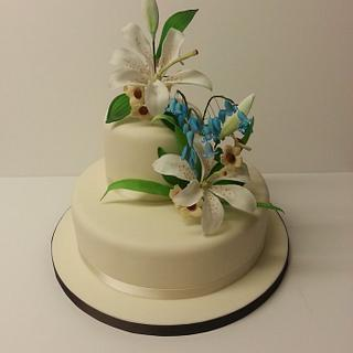 Bluebells [Harebells] and Lilies Wedding cake