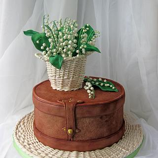 Vintage box and Basket with lilies of the valley
