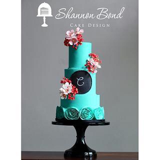 Chalkboard Monogram Cake