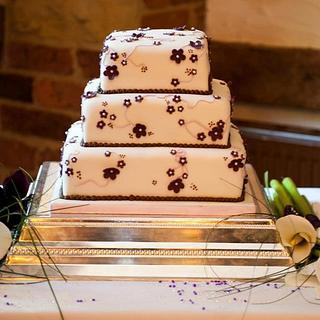 Square 3 Tier Wedding Cake with Cherry Blossom details