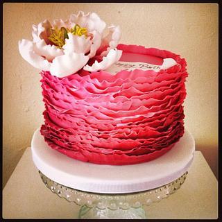 Open peony ruffle cake