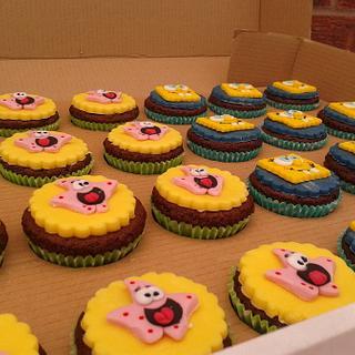 Sponge Bob and Patrick Starfish fondant cupcakes.
