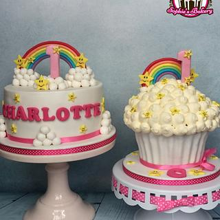 Rainbow stars and clouds cake with matching smash cake