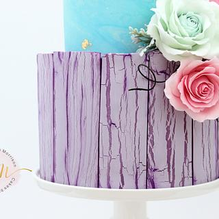 Crackled effect rose and peony cake