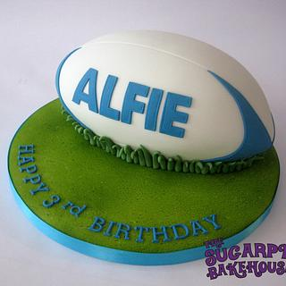 Carved Rugby Ball Cake