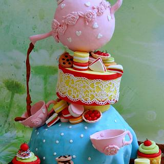 Topsy turvy tea party - Cake by Prachi Dhabaldeb