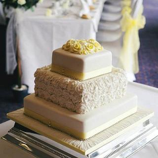 Lemon and White Roses Wedding Cake