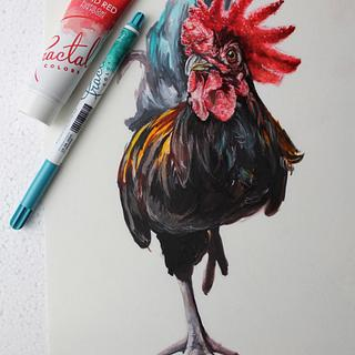Handpainted rooster