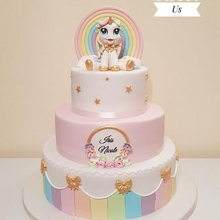 Christening cake with cute unicorn