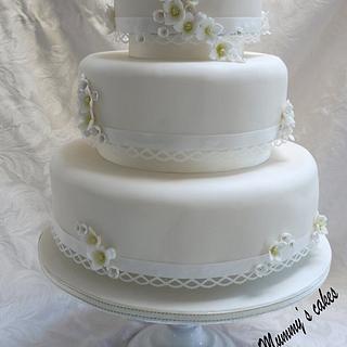 Lace Trimmed Blocked Hydrangea Wedding Cake