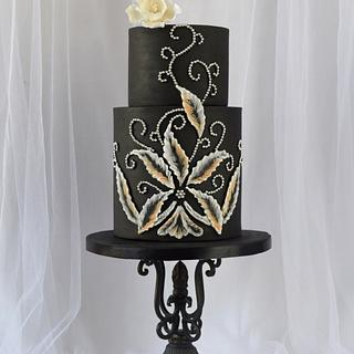 Black Brush Embroidered Cake - A Sweet Farewell to Downton Collaboration