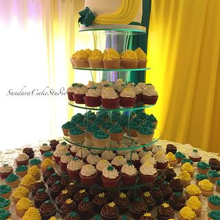 Teal and Yellow Wedding  - Cake by Sherikah