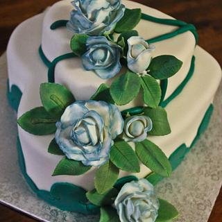 Blue edged Rose  Anniversary cake