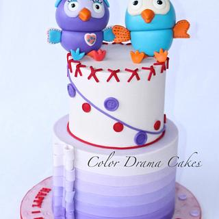 Giggle and hoot cake- purple ombre cake  - Cake by Color Drama Cakes